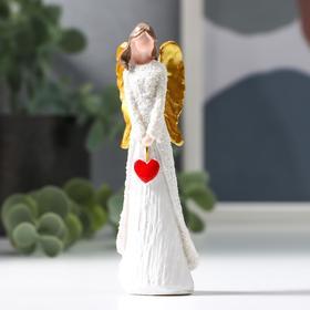 """Сувенир полистоун """"Ангелочек с красным сердечком, с золотыми крыльями"""" 9,5х3х2 см в Донецке"""