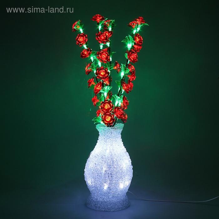Светодиодная ваза 70х20, 3 цвета, 96 LED, цветы КРАСНЫЕ