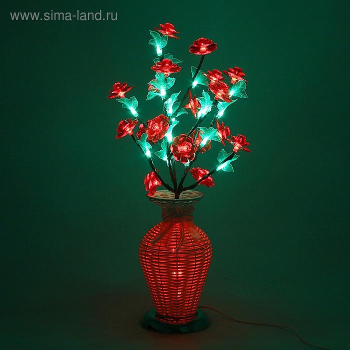 Светодиодная ваза 60х12, 2 цвета, 44 LED, цветы КРАСНЫЕ