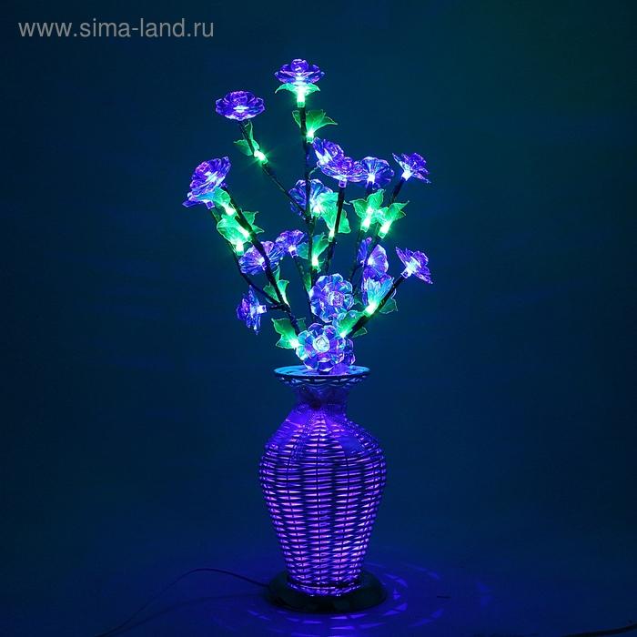 Светодиодная ваза 60х12, 2 цвета, 44 LED, цветы СИНИЕ