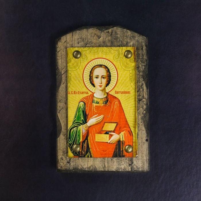 """Икона над дверью под старину """"Святой целитель Пантелеимон"""""""