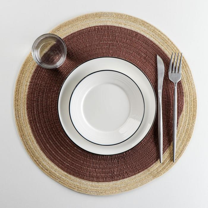 Салфетка сервировочная Доляна «Лана», d=38 см, цвет коричневый