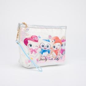 Косметичка-сумочка, отдел на молнии, с ручкой, цвет белый, «Котята»