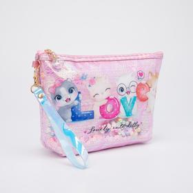 Косметичка-сумочка, отдел на молнии, с ручкой, цвет розовый, «Котята»