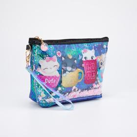 Косметичка-сумочка, отдел на молнии, с ручкой, цвет зелёный, «Котята»