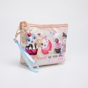 Косметичка-сумочка, отдел на молнии, с ручкой, цвет бежевый, «Котята»