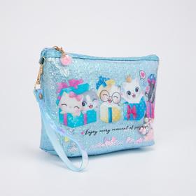 Косметичка-сумочка, отдел на молнии, с ручкой, цвет голубой, «Котята»