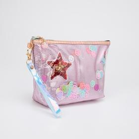 Косметичка-сумочка, отдел на молнии, с ручкой, цвет розовый, «Смайлики»
