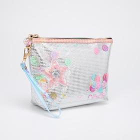 Косметичка-сумочка, отдел на молнии, с ручкой, цвет серебристый, «Смайлики»