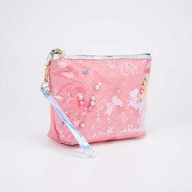 Косметичка-сумочка, отдел на молнии, с ручкой, цвет коралловый, «Бабочки»