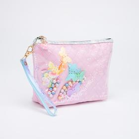 Косметичка-сумочка, отдел на молнии, с ручкой, цвет розовый, «Бабочки»