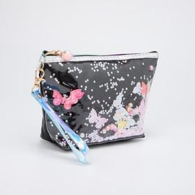 Косметичка-сумочка, отдел на молнии, с ручкой, цвет чёрный, «Бабочки»