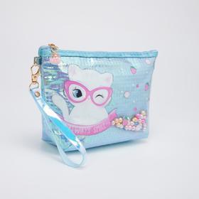 Косметичка-сумочка, отдел на молнии, с ручкой, цвет голубой, «Кошечка»