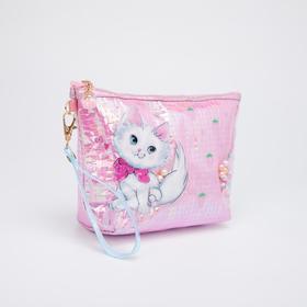 Косметичка-сумочка, отдел на молнии, с ручкой, цвет розовый, «Кошки»