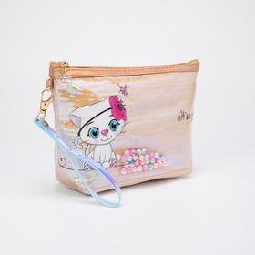 Косметичка-сумочка, отдел на молнии, с ручкой, цвет голубой, «Кошки»