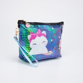 Косметичка-сумочка, отдел на молнии, с ручкой, цвет зелёный, «Кошки»