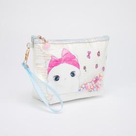 Косметичка-сумочка, отдел на молнии, с ручкой, цвет белый, «Кошки»