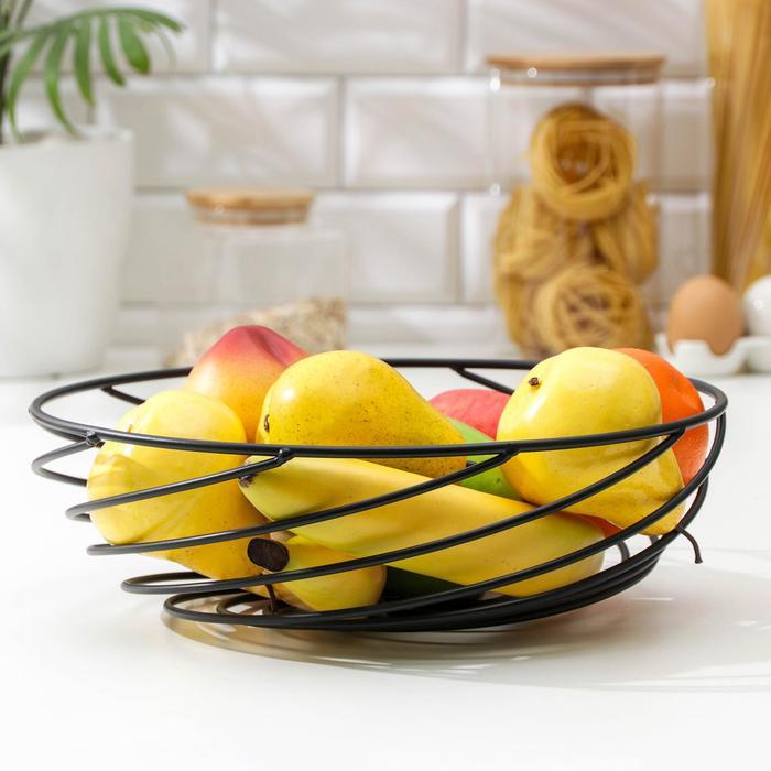 Ваза для фруктов Доляна «Гипноз», 30,5×30,5×8,5 см, цвет чёрный