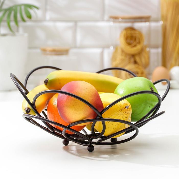 Ваза для фруктов Доляна «Ринго», 25×25×13 см, цвет коричневый