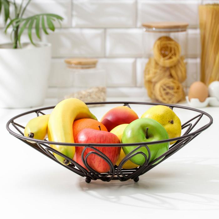 Ваза для фруктов Доляна «Флора», 35,5×35,5×11 см, цвет коричневый