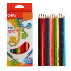Карандаши 12 цветов Deli Color Emotion, трёхгранные, европодвес