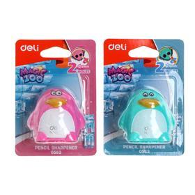 """Точилка-игрушка 2 отверстия Deli """"Пингвин"""", пластиковый корпус, с контейнером, МИКС"""