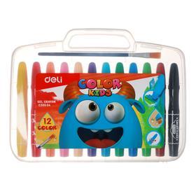 Мелки гелевые 12 цветов Deli Color Kids, в пластиковом чемоданчике