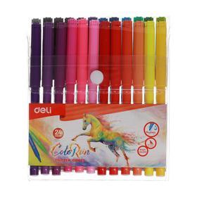 Фломастеры 24 цвета Deli ColoRun, вентилируемый колпачок, европодвес