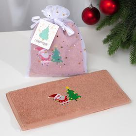 Полотенце махровое «Дед Мороз» 30х60 см, хлопок, 340 гр/м2