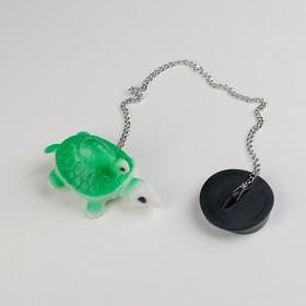 Пробка для ванны с игрушкой Доляна «Черепаха», d=4 см (5 см по верху), цепочка 40 см