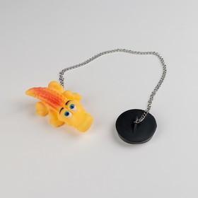 Пробка для ванны с игрушкой Доляна «Крокодил», d=4,8 см, цепочка 40 см