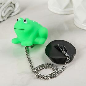 Пробка для ванны с игрушкой Доляна «Лягушка», d=4,8 см, цепочка 40 см