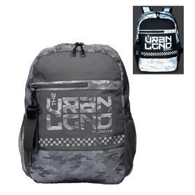 Рюкзак молодёжный, Seventeen, 41 x 29 x 13.5 см, эргономичная спинка, вставки из светоотражающих материалов, серебярный и камо рефлектив, отделение для ноутбука