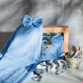 Набор банный Этель: полотенце-парео 180*200 см, цв.синий, мочалка