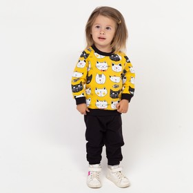 Комплект для девочки, цвет жёлтый/кошечка, рост 74 см