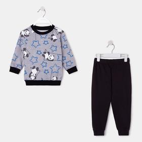 Комплект для мальчика, цвет чёрный/панда, рост 74 см