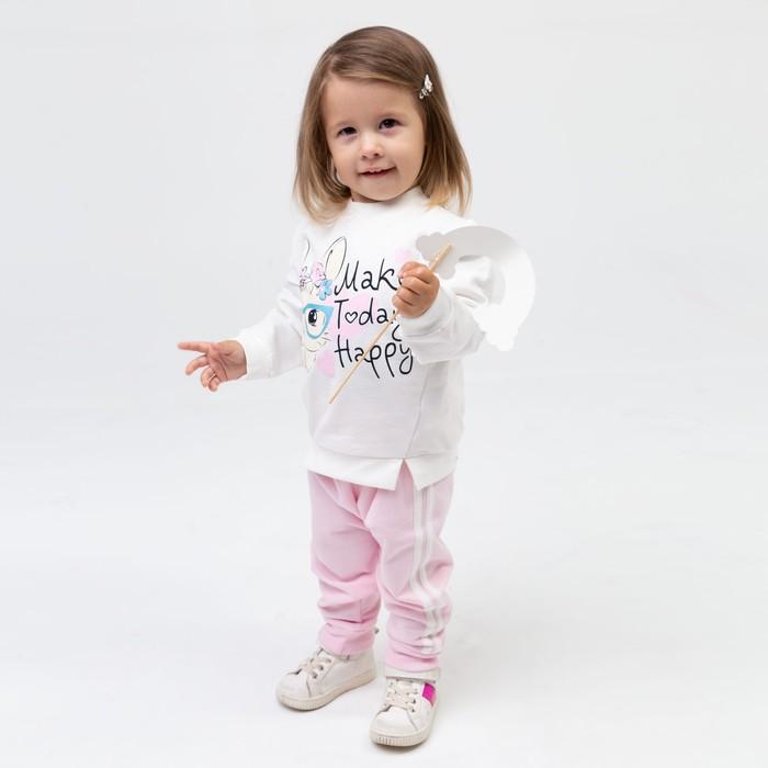Комплект для девочки, цвет розовый/зайка, рост 86 см - фото 2937320