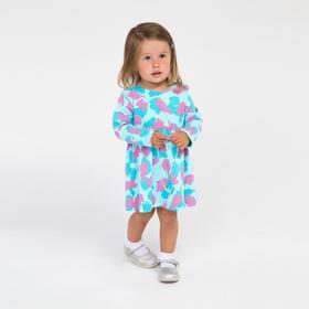 Платье для девочки, цвет бирюзовый/милитари, рост 74 см