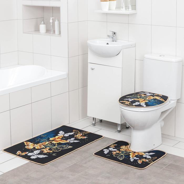 Набор ковриков для ванны и туалета Доляна «Бабочки», 3 шт: 50×80, 50×40, 40×43 см