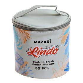 Маркер худож набор Mazari LINDO 80цв (2ст:кистевид1.0/клиновид6.2) текстильный чехол, ОПП-уп