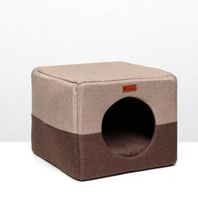 "Дом – трансформер ""Квадрат"", рогожка, поролон, 43 х 42 х 34 см, бежево-коричневый"