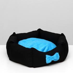 "Лежанка ""Прицесса"", габардин, плюш, чёрная/голубая, 50 х 50 х 15 см"