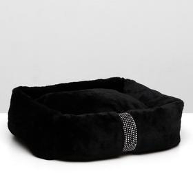 """Лежанка """"Неженка"""", искусственный мех,синтепон, 46 х 38 х 15 см, чёрная"""