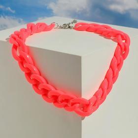 """Колье """"Цепь"""" диагональ, цвет неоново-розовый, 45см"""