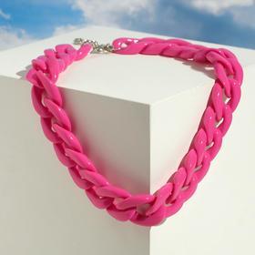 """Колье """"Цепь"""" диагональ, цвет розовый, 45см"""