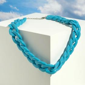"""Колье """"Цепь"""" диагональ, цвет небесно-голубой, 45см"""