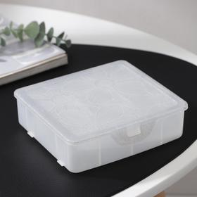 Органайзер для хранения мелочей с разделителями, 14x×3,5×4,2см, цвет белый перламутр