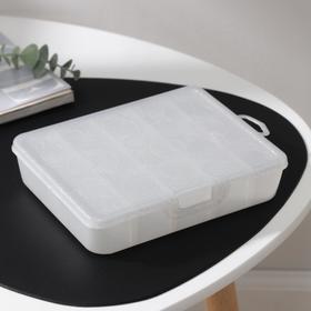 Органайзер для хранения мелочей с разделителями, 19,2×16×4,2 см, цвет белый перламутр