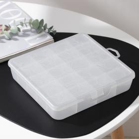 Органайзер для хранения мелочей с разделителями, 20×20×4,2 см, цвет белый перламутр