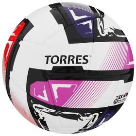 Мяч футзальный TORRES Futsal Resist, размер 4, 24 панели, ПУ, 3 подкладочных слоя, цвет белый/мультикол
